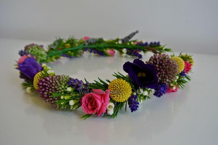 Brides Boho floral crown, flower head dress, Lavender, Wax flower, Roses.