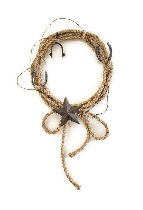 Cuerda rústica corona - Western Home Decor - alambre de púas guirnalda - Casa Decor - arte de alambre de púas - vaquero pared Art - país rústico Decor