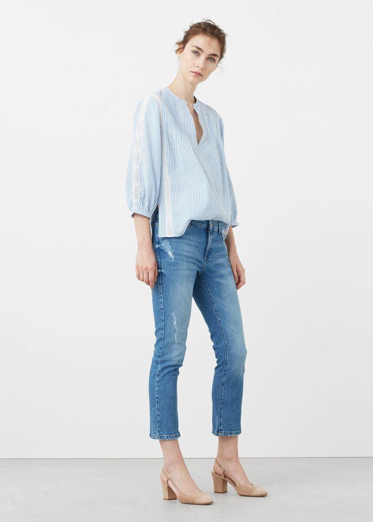 Striped cotton blouse | MANGO