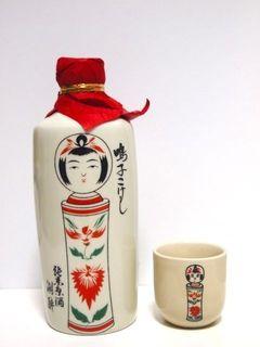 Japanese Sake in Kokeshi Doll Bottle (Miyagi, East Japan)|鳴子こけしの酒
