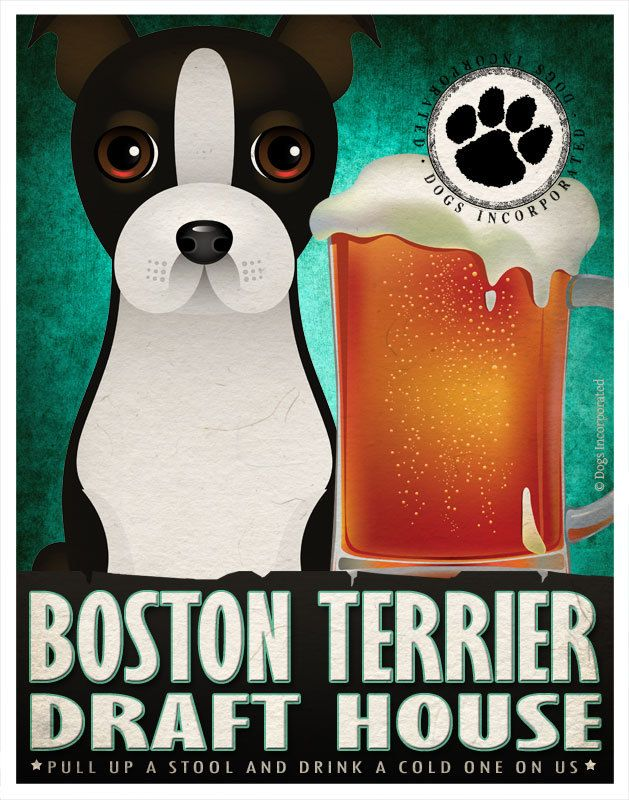 Boston Terrier boire chiens Original Poster par DogsIncorporated