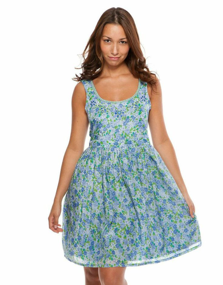 Party Dress - Small Flower print, Green