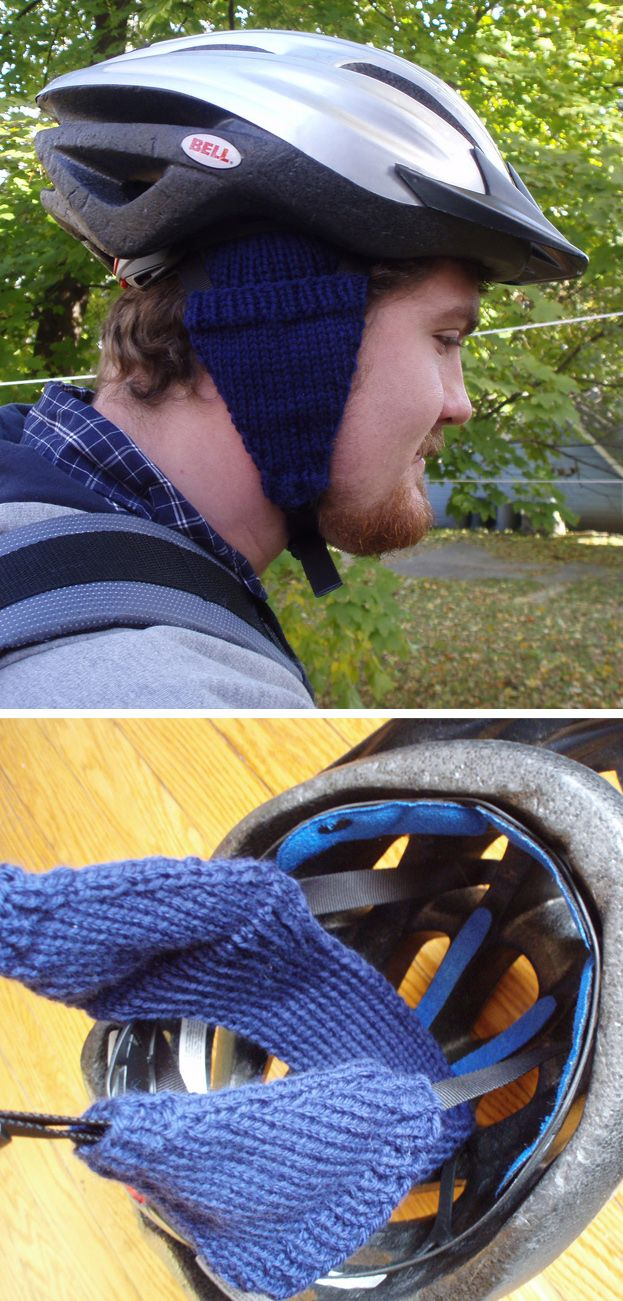Free Knitting Pattern for Bike Helmet Ear Muffs - Easy knitting pattern to create ear warmers that slip over the straps of a bike helmet and stay in place to protect your ears in cooler weather. Designed byKristin Briney