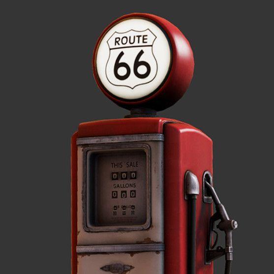 Route 66 Gas Pump, Ratthapon Satcheenpong on ArtStation at https://www.artstation.com/artwork/0d9v8