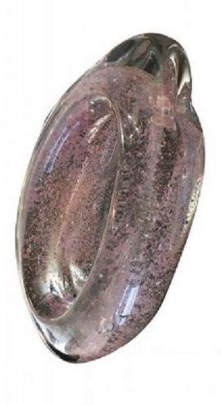 Andre Thuret  Coupe en verre épais rose  Modelé à chaud,  inclusions d'oxydes métalliques.  H : 6 cm L : 17 cm  Ca. 1940
