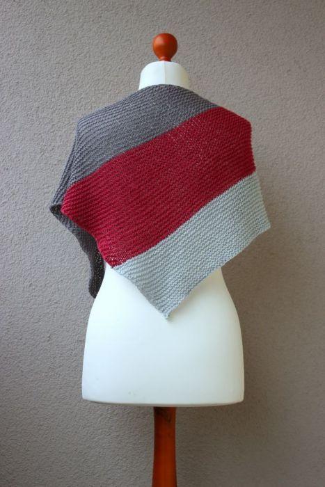 Bawełniana chusta trójkątna szaro-czerwona