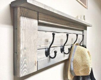 Rustic Wooden Entryway Walnut Coat Rack Rustic Wooden Shelf