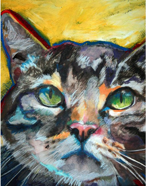 Tabby Cat  Print of Original Painting by BARKNART on Etsy, $7.99