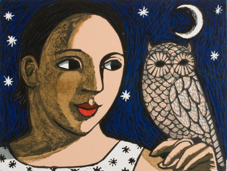 The Owl, linocut print by Anita Klein - Pyramid Gallery