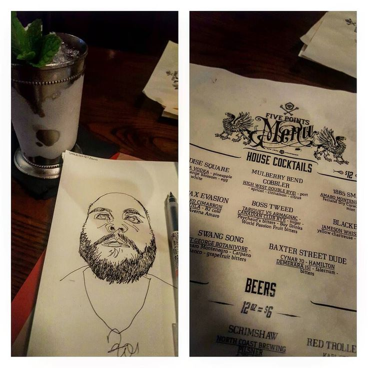 "#inktober 16. #masticateandillustrate #drinkanddraw consists of a cheeseburger on a pretzel bun (very good) a ""mulberry bend cobbler"" #cocktail and the #sketch #drawing subject is #reddit user ""somebitchfelldown"" all done at the new spot in #sanpedrosquare  Five Points...#art #portrait #beard #bald #mixology #DTSJ"