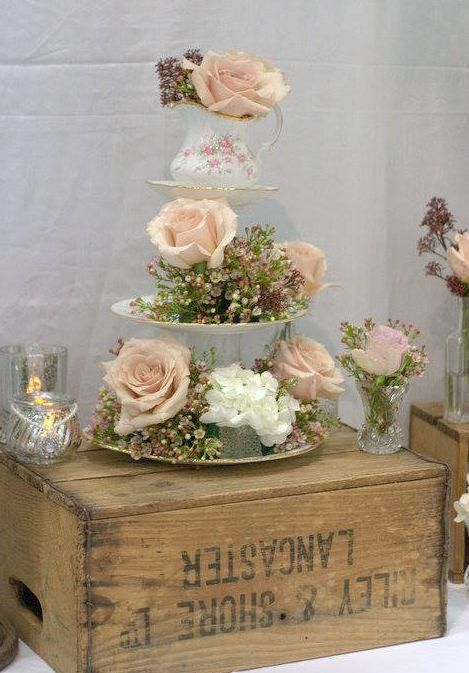 915 best affordable vintage wedding decor images on pinterest vintage crate wedding decor vintage cup saucer wedding flowers soft blush roses and vintage style blooms perfect for nude colour weddings and natural junglespirit Images