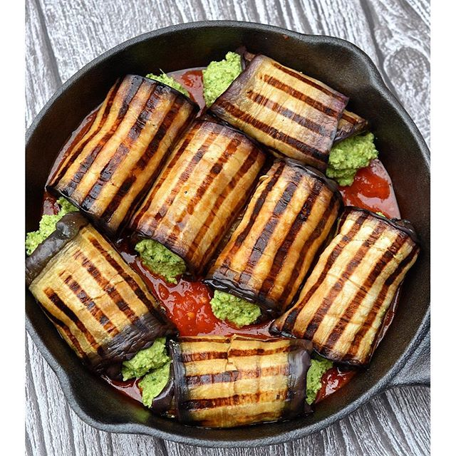 Grilled Eggplant Roll-ups With Basil And Spinach Filling