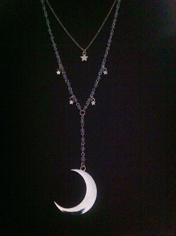 Stevie Nicks Gypsy  Moon Goddess  Necklace~ Moonstone Glass Beads ~Crescent Moon And Star Lariat  ~ Moon of My Life Necklace ~Boho Style