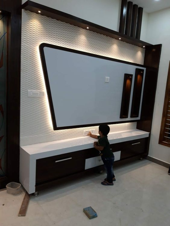Lcd Panel Design Tv Unit Design Tv: Salón Con Mueble Para Televisión, En Pladur Y Luces Led