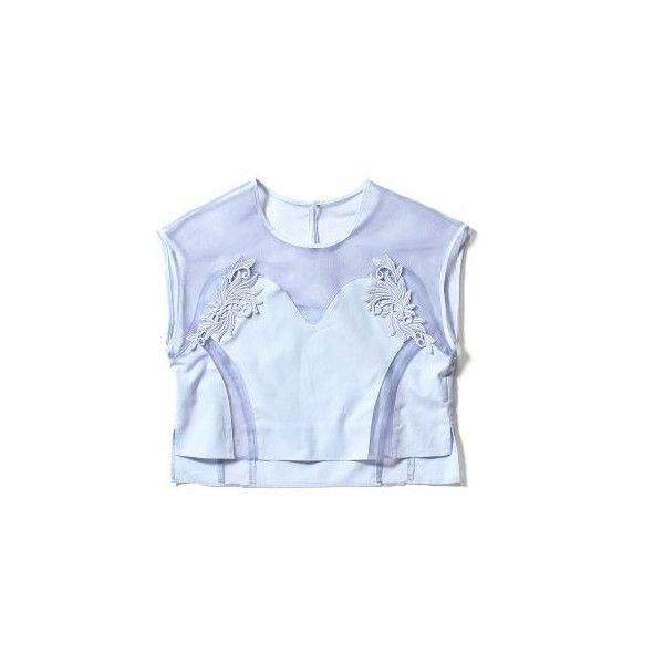 モチーフレースプルオーバー(Demi Voo)|Demi Voo/デミ ヴー  ファッション通販 スタイルクルーズ(Style... ❤ liked on Polyvore featuring tops and blue top