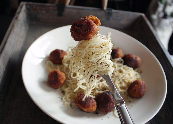 Oppskrift Vegan Vegetar Linselus Linser Cappellini Pasta Vegetariske Kjøttboller