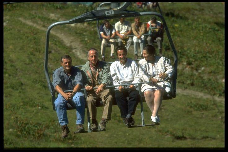 Edouard Balladur avec ses soutiens en 1995 : François Léotard, Nicolas Sarkozy et Simone Veil