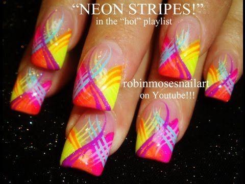 Neon Stripes Nail Art Design! - YouTube