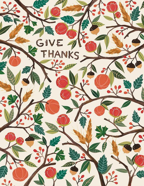 Give Thanks Print by @Vicky Balnave on Etsy, $15.00 #illustration #print #autumn #woodland #nature #acorn #tree #berries