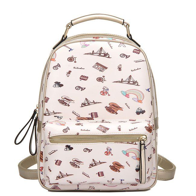 Original Cartoon PU Tower Students Schoolbag Bridge Rainbow Zipper Backpack