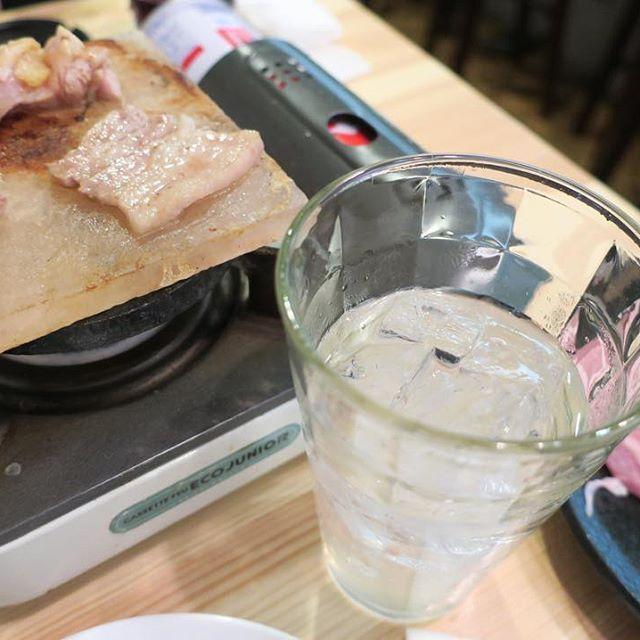 岩塩プレート焼き 6/21 #夕食 #晩ごはん #手抜き #dinner #food #instafood #肉 #meat #大阪 #osaka