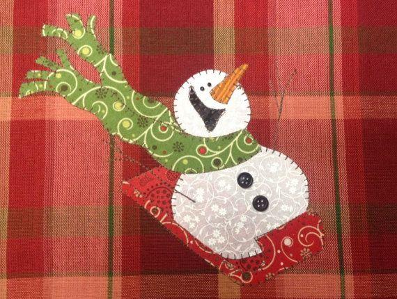 Sledding Fun, A Cute Snowman Applique  PDF Pattern for Tea Towel