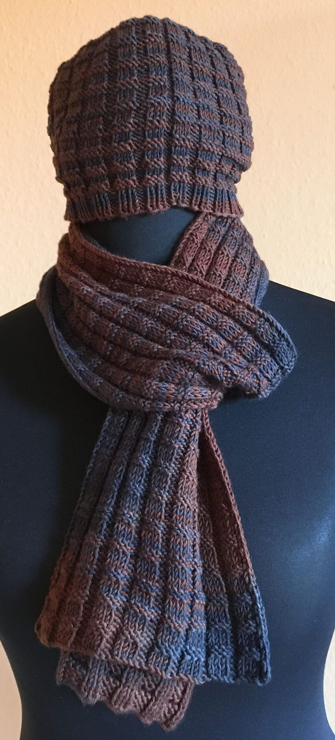 Free Knitting Pattern for Easy Christian's Scarf and Hat - Beanie and scarf set in waffle stitch. Rated very easy by Ravelrers. Designed by Ágnes Kutas-Keresztes. Pictured project by lupo
