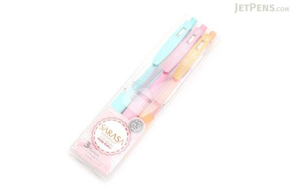 Zebra Sarasa Push Clip Gel Pen - 0.5 mm - Milk - 3 Color Set - ZEBRA JJ15-3C-MK
