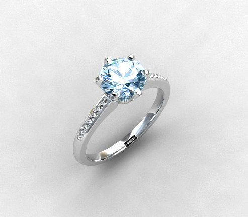 Aquamarine ring, White gold, Diamond, Engagement ring, solitaire, diamond ring, blue, micro pave, Aquamarine engagement. $1,997.00, via Etsy.