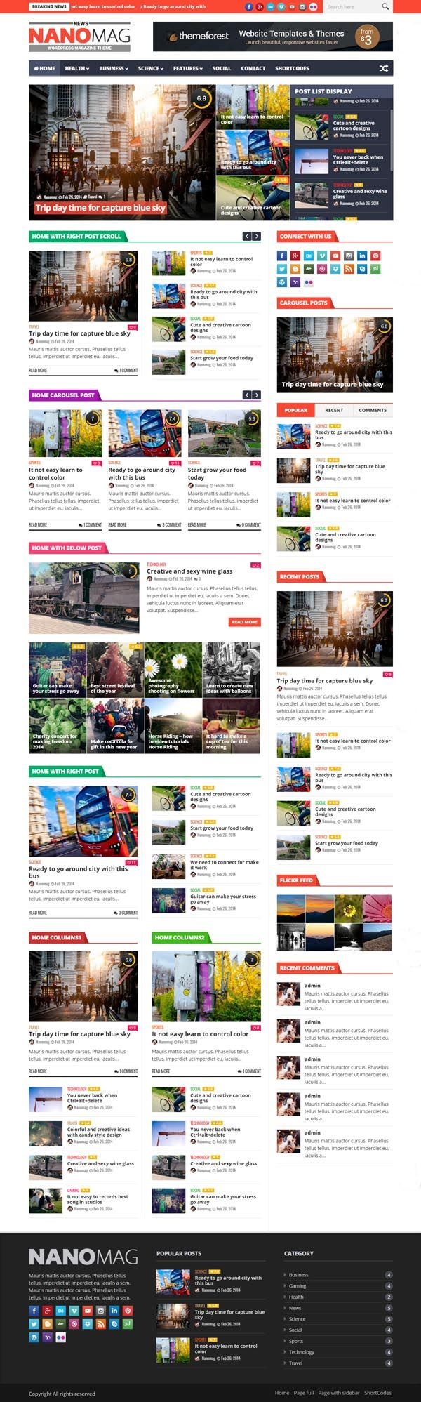 NanoMag - Responsive WordPress Magazine Theme #wordpressthemes #html5templates…