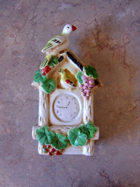 Vintage Wall Pocket Cuckoo Clock Design Pottery Made In