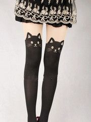 Japanese Kawaii cat tattoo tights: