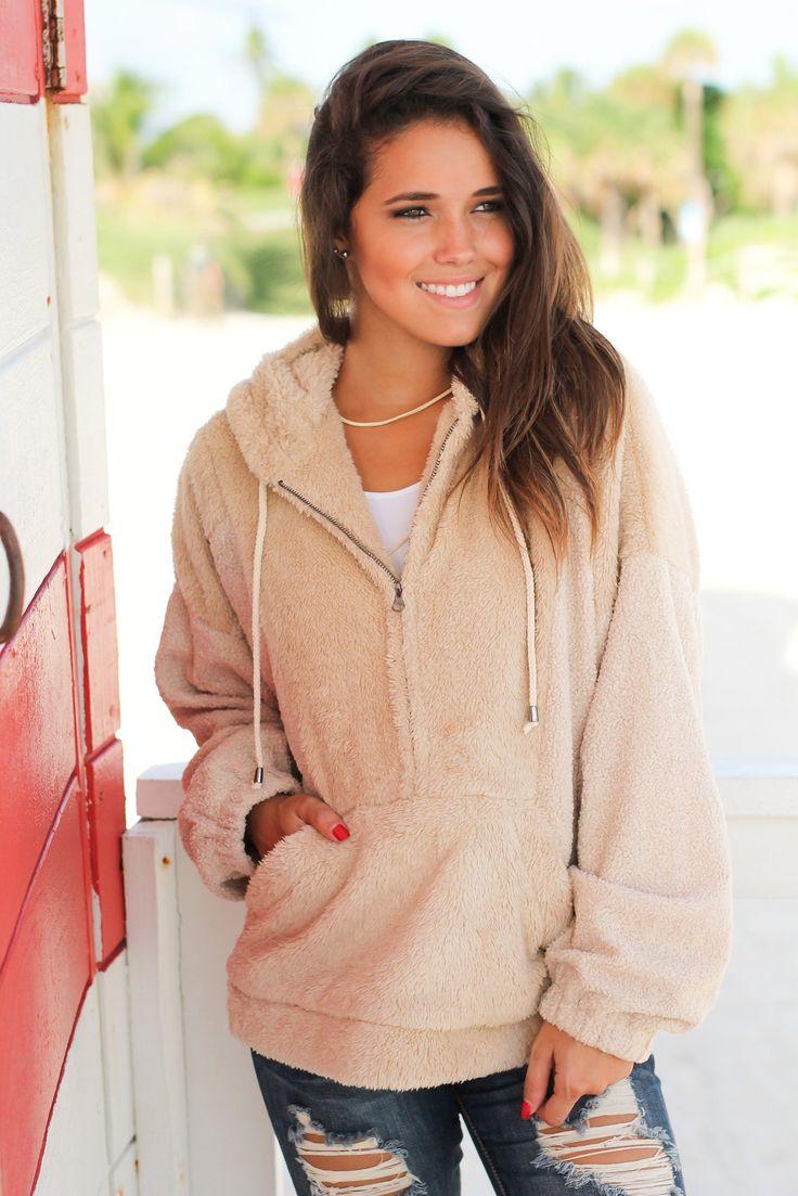 Taupe Furry Half Zip Sweater
