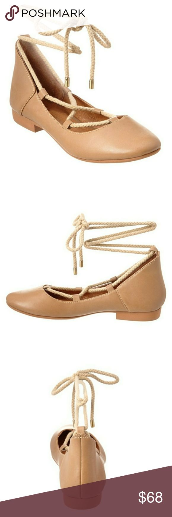 Kelsi Dagger Deandracf Leather Flat Kelsi Dagger  Color/Material: Camel Baby Calf Leather  Design Details: Gold-Tone Hardware  Lace-Up Closure  Lightly Padded Insole  Man-Made Sole  .75in Heel  Please Note: All Measurements Are Approximate And Were Taken From A Size 7.5; Slight Variations May Occur.  Imported  New in box Kelsi Dagger Shoes Flats & Loafers