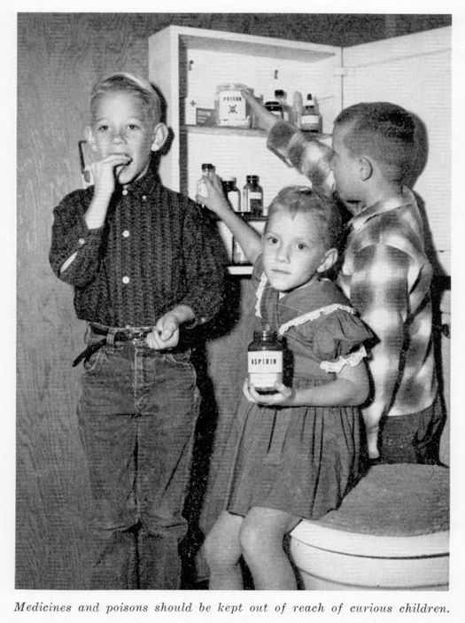 """""""Medicines and poisons should be kept out of reach of curious children"""", Tips on Farm & Home Safety (1961) - a Florida Department of Agriculture Bulletin  This is very John Waters to me."""