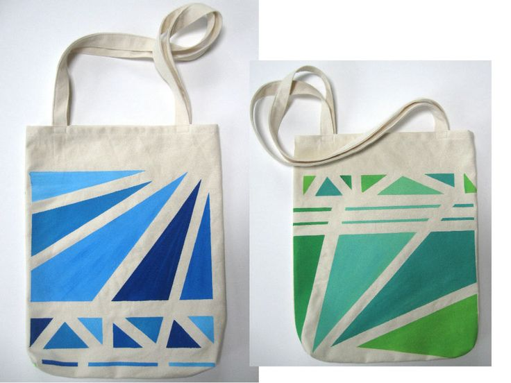 Hand Painted Tote Bag Eco Friendly School Bag $32.00