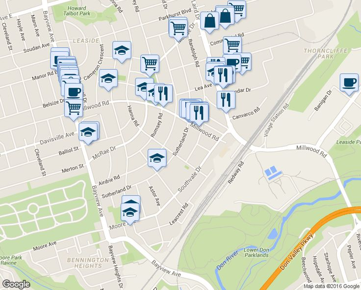 map of restaurants, bars, coffee shops, grocery stores, and more near 127 Sutherland Drive in Toronto