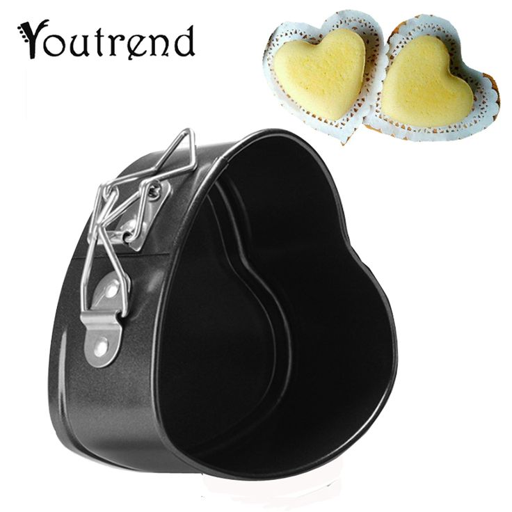 Non Stick Love Heart Shape Cake Pan Tin DIY Cake Mold Baking Cheese Bread Tray 11CM Midle Size Cake Mould Holder Oven Baking #Affiliate