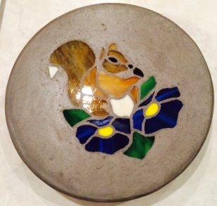 """Squirrel 8"""" Round Stained Glass Garden Stone"""