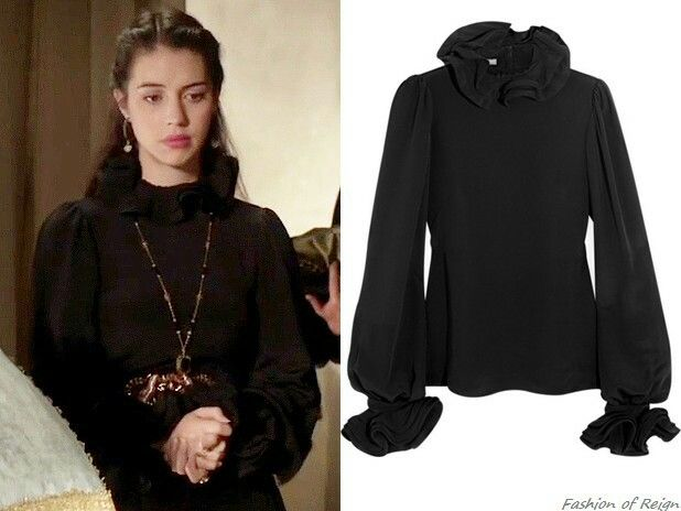 """In the episodes 1x17 (""""Liege Lord"""") and 3x06 (""""Fight or Flight"""", pictured) Queen Mary wears this sold out Alexander McQueen Ruffled Silk-Cady Blouse."""