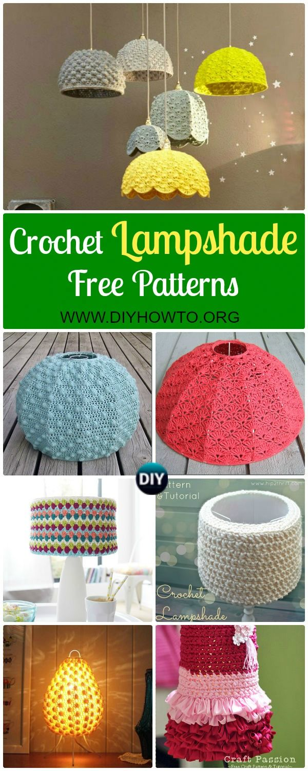 Collection of Crochet Lamp Shade Free Pattern: Crochet LampShade Makeover Free Patterns. Crochet Lamp Shade Cover, Chandelier via @diyhowto