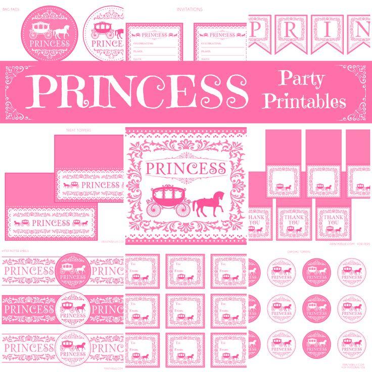 Free Princess Party Printables.  http://www.printabelle.com
