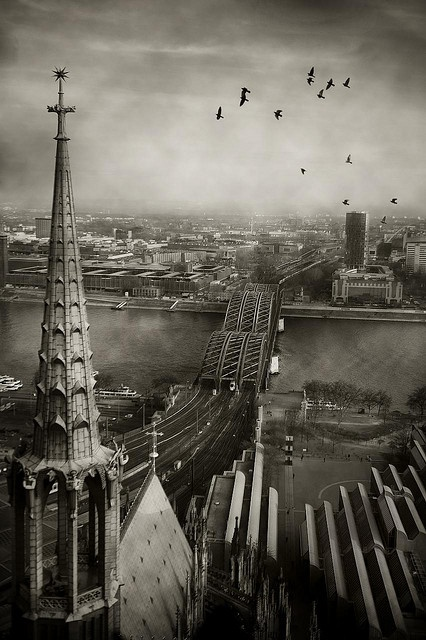 Hohenzollern Bridge seen from the Cologne Dom South Tower, Germany