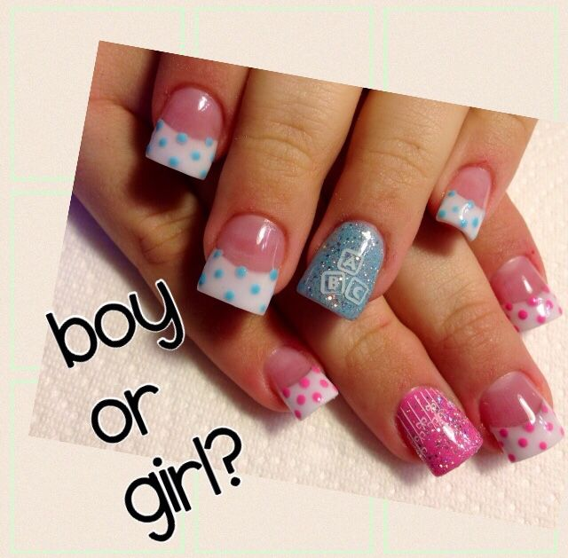Gender Reveal Nails  baby nails !!!