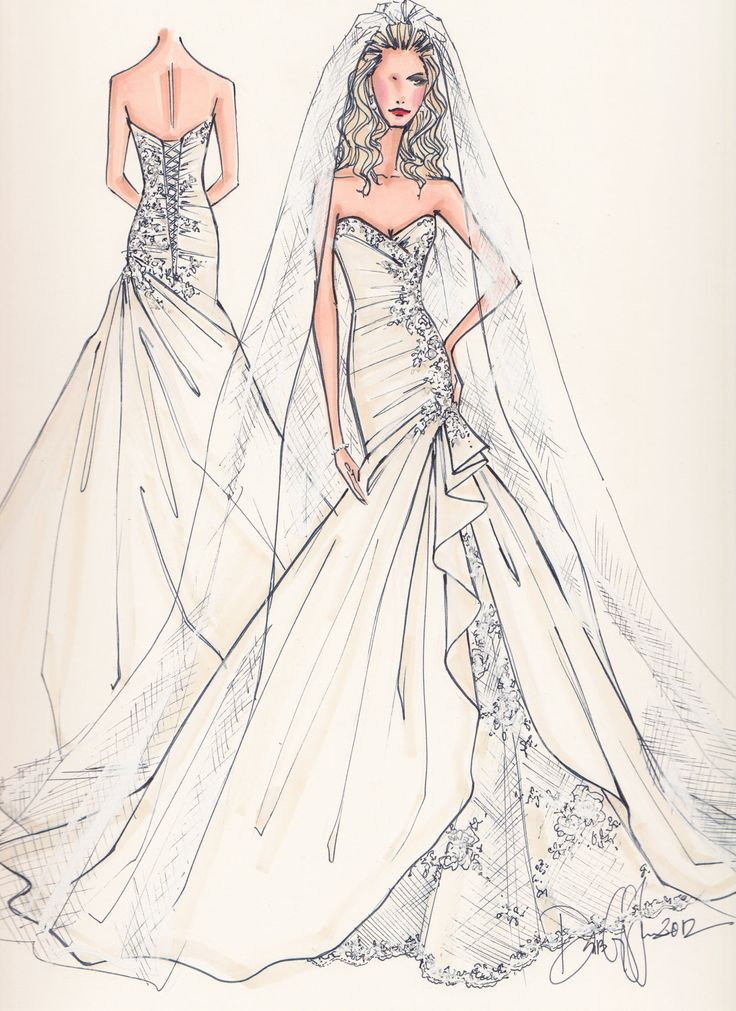 405 best images about dresses to draw on pinterest Wedding dress illustration