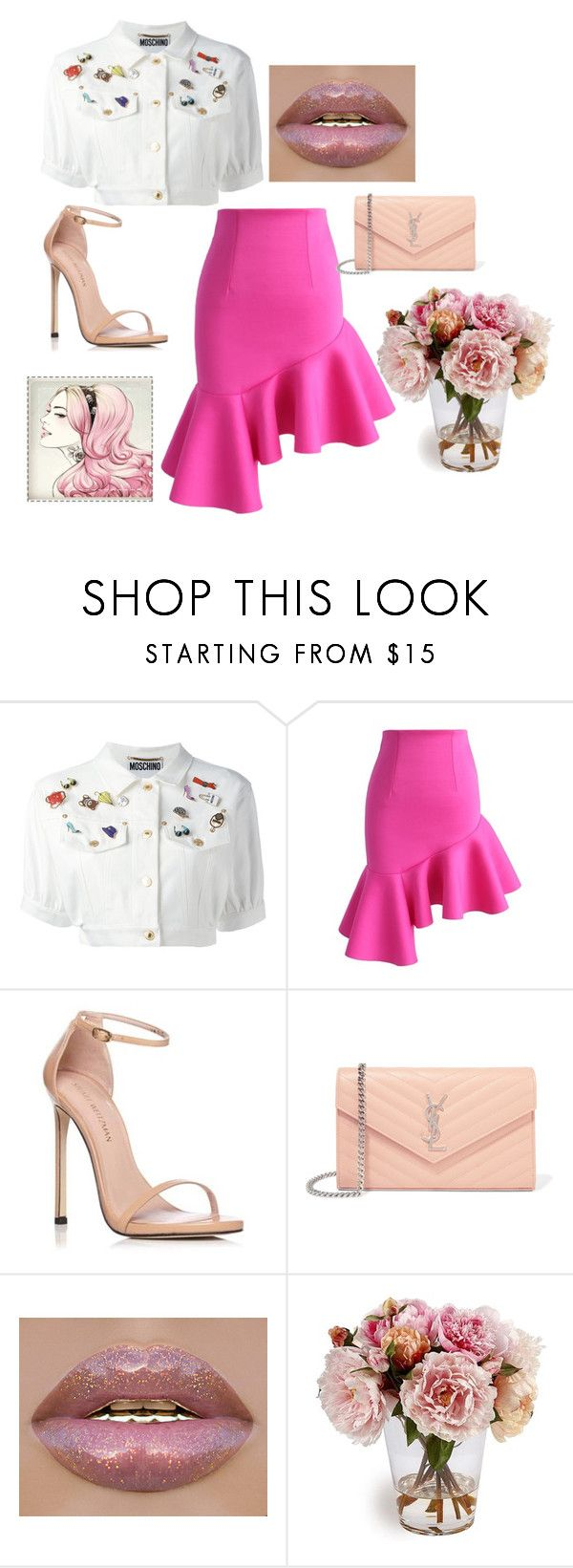 """""""Sem título #87"""" by rebecioatto on Polyvore featuring moda, Moschino, Chicwish, Stuart Weitzman e Yves Saint Laurent"""