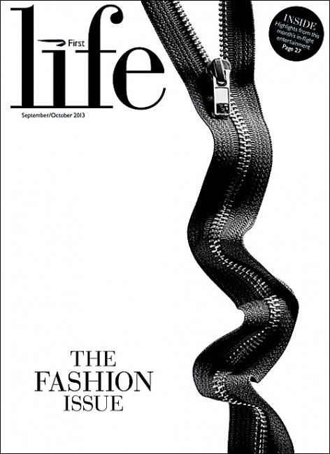 First Life (UK) The Fashion IssueNew stylish cover First Life:exclusive magazine for BA First class passengersArt Editor: Lex GuerraPicture Editor: Faris MustafaPhoto: Craig Cutler/Trunk Library