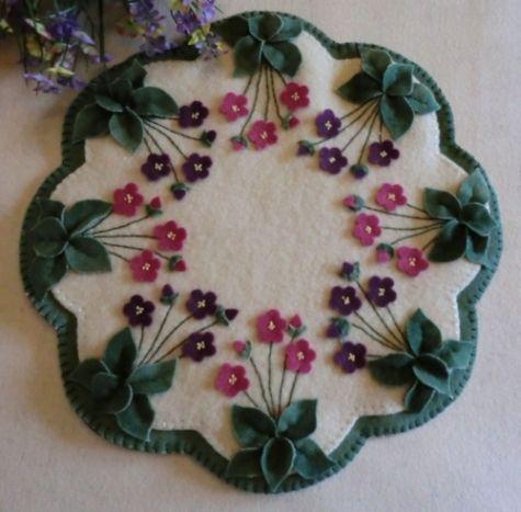 """Violets In My Garden"" Pattern-violets, garden, flowers, spring, summer, pattern, cath's pennies designs, penny rug, candle mat, wool, wool felt, wool felt"