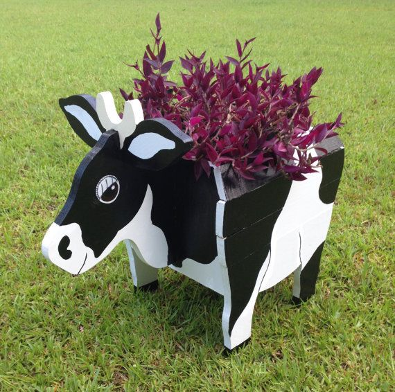 Wooden Animal Planter Cow by CutsNCrafts on Etsy