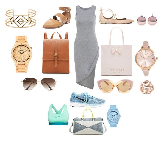 """Back to Basics"" by britscarike on Polyvore featuring Aquazzura, Karen Walker, Steve Madden, Ted Baker, Meli Melo, River Island, Stella & Dot, WeWood, Ray-Ban and NIKE"